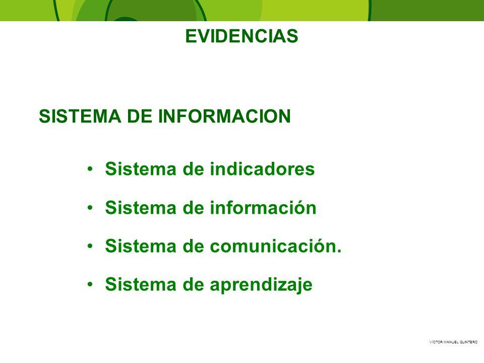 VÍCTOR MANUEL QUINTERO SISTEMA DE INFORMACION Sistema de indicadores Sistema de información Sistema de comunicación. Sistema de aprendizaje EVIDENCIAS