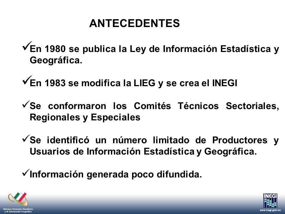 ANTECEDENTES Desde sus inicios el INEGI había orientado sus esfuerzos a la generación de información básica tanto en el ámbito estadístico como en el geográfico.