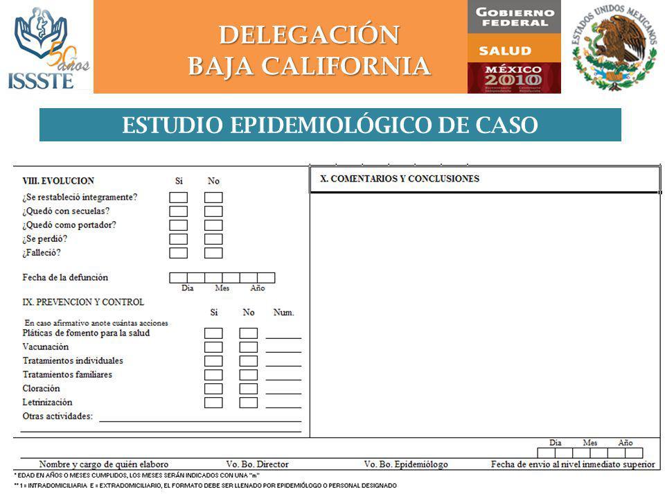DELEGACIÓN BAJA CALIFORNIA ESTUDIO EPIDEMIOLÓGICO DE CASO