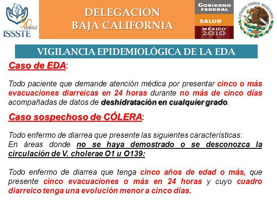 VIGILANCIA EPIDEMIOLÓGICA DE LA EDA DELEGACIÓN BAJA CALIFORNIA
