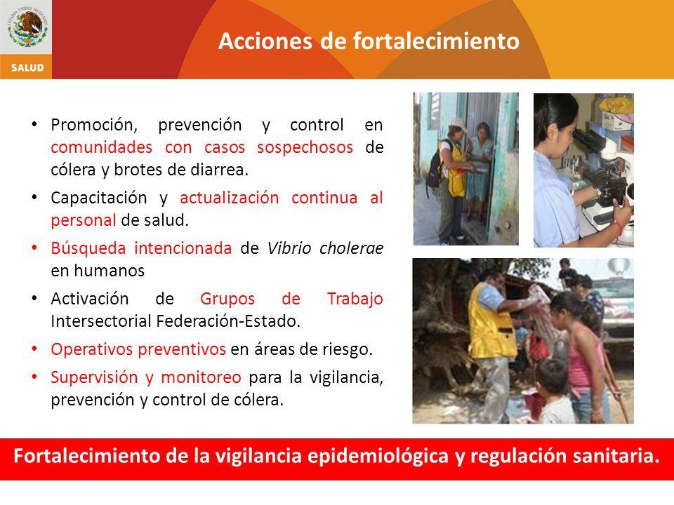 Promoción, prevención y control en comunidades con casos sospechosos de cólera y brotes de diarrea. Capacitación y actualización continua al personal