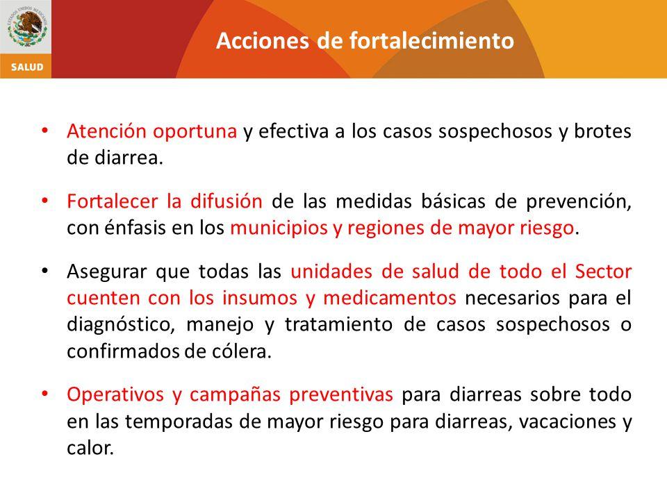 Acciones de fortalecimiento Atención oportuna y efectiva a los casos sospechosos y brotes de diarrea.