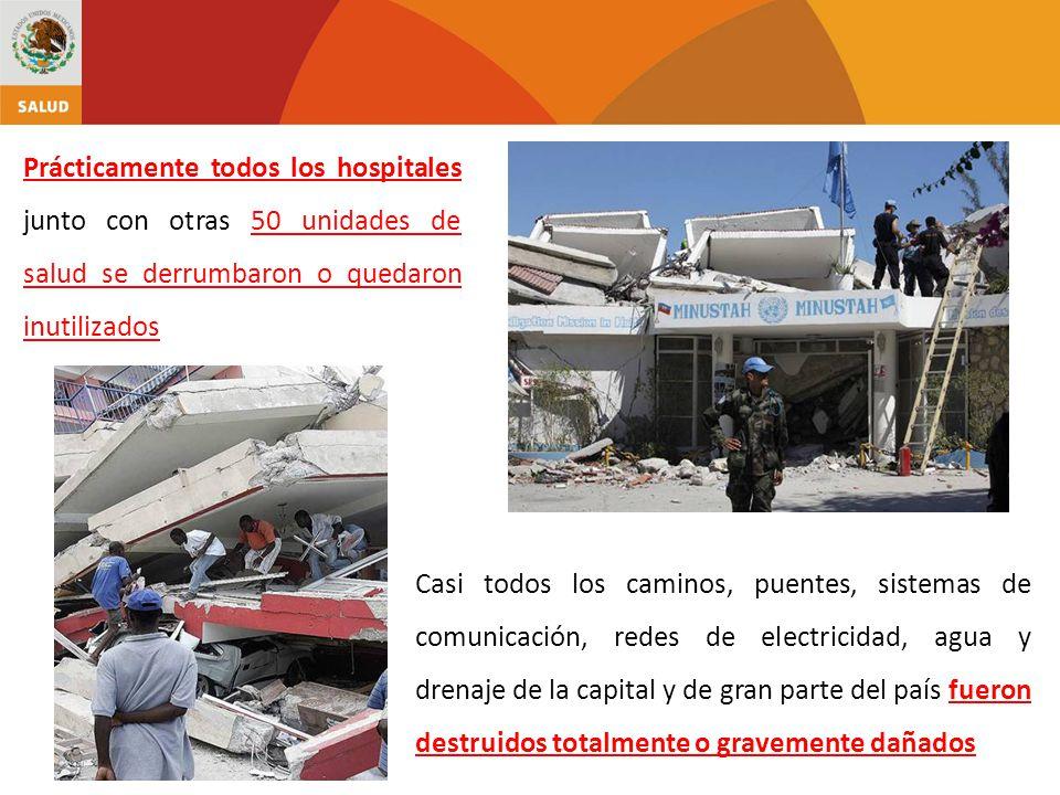 Prácticamente todos los hospitales junto con otras 50 unidades de salud se derrumbaron o quedaron inutilizados Casi todos los caminos, puentes, sistem