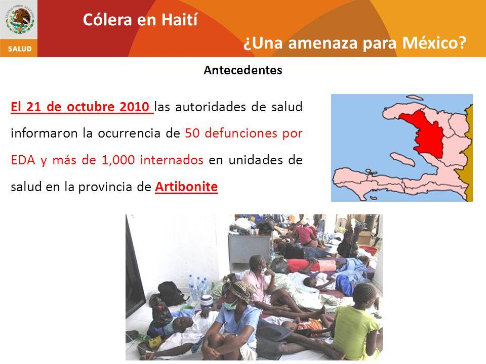 El día 22 se confirmó la presencia de Vibrio cholerae O1 El 17 de noviembre se confirmaron la presencia de casos en la República Dominicana y en Miami, EUA El día 29 la población intentó atacar a soldados de Nepal acusándolos de haber llevado la bacteria a Haití Antecedentes Cólera en Haití ¿Una amenaza para México?
