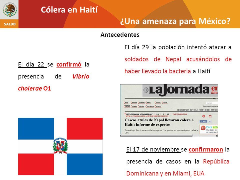 El día 22 se confirmó la presencia de Vibrio cholerae O1 El 17 de noviembre se confirmaron la presencia de casos en la República Dominicana y en Miami