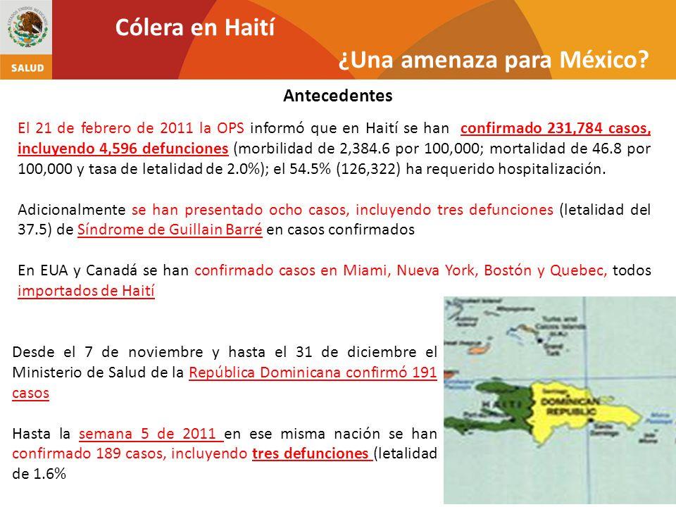 Antecedentes Cólera en Haití ¿Una amenaza para México? El 21 de febrero de 2011 la OPS informó que en Haití se han confirmado 231,784 casos, incluyend