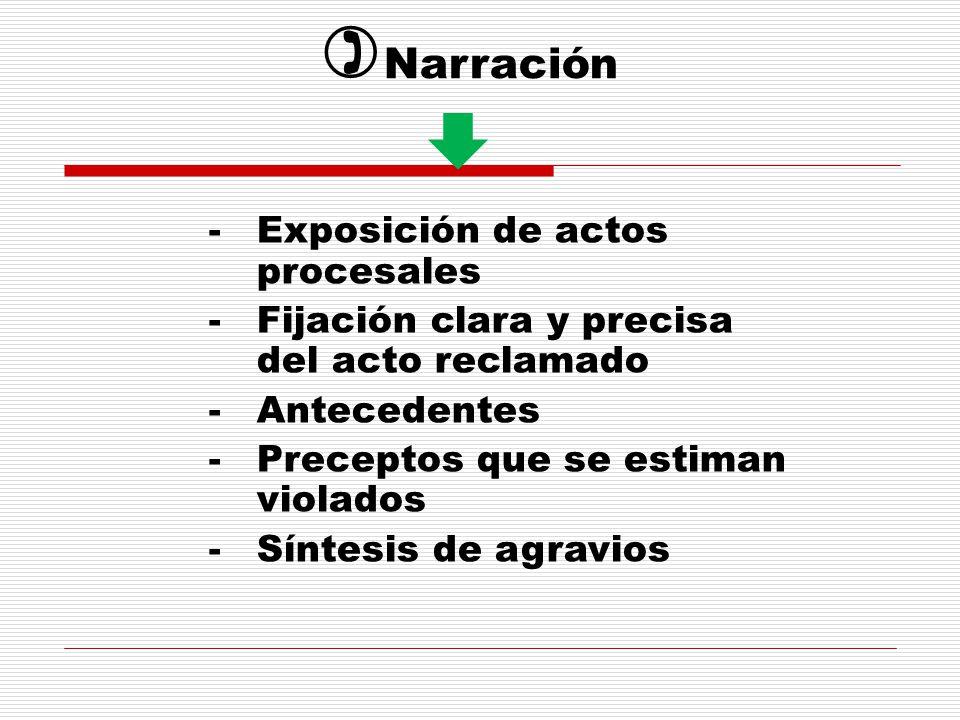 -Exposición de actos procesales -Fijación clara y precisa del acto reclamado -Antecedentes -Preceptos que se estiman violados -Síntesis de agravios Narración