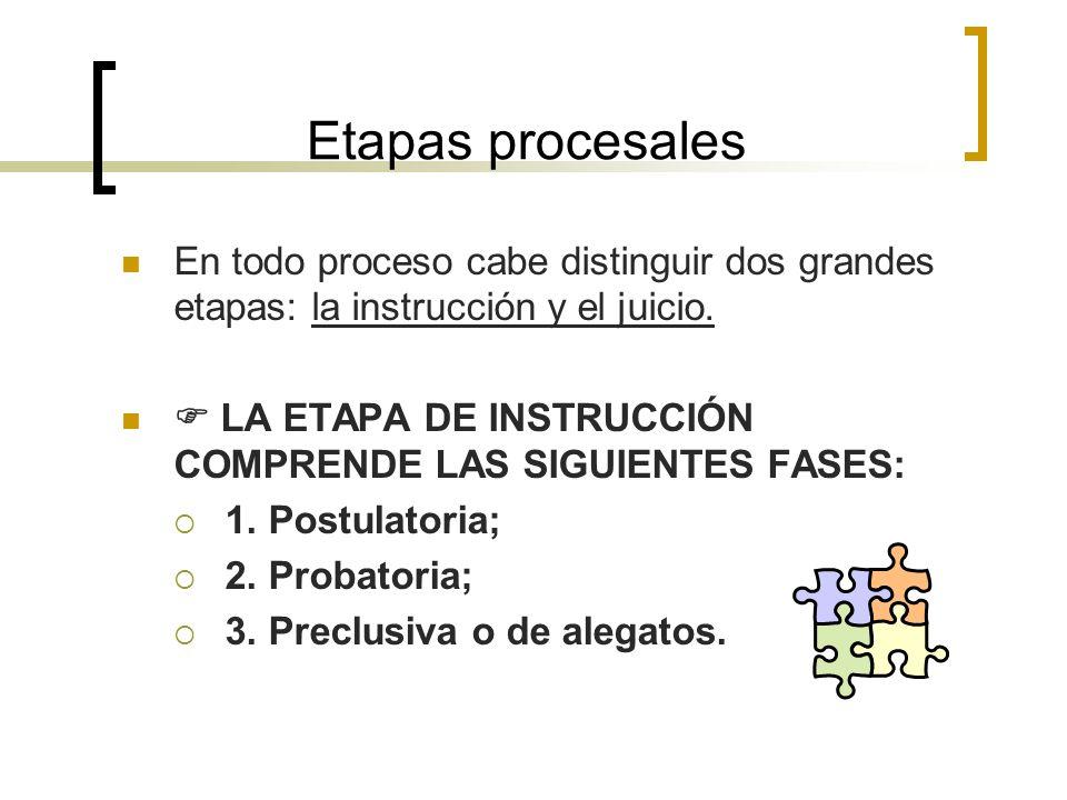 Etapas procesales En todo proceso cabe distinguir dos grandes etapas: la instrucción y el juicio. En todo proceso cabe distinguir dos grandes etapas: