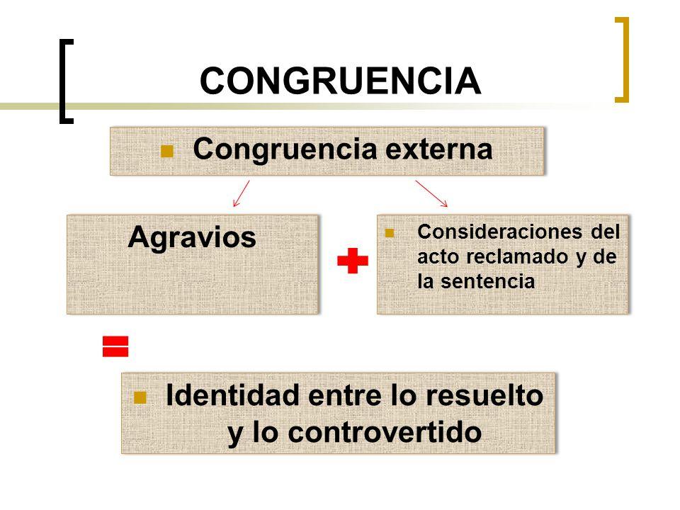 CONGRUENCIA Congruencia externa Agravios Consideraciones del acto reclamado y de la sentencia Identidad entre lo resuelto y lo controvertido
