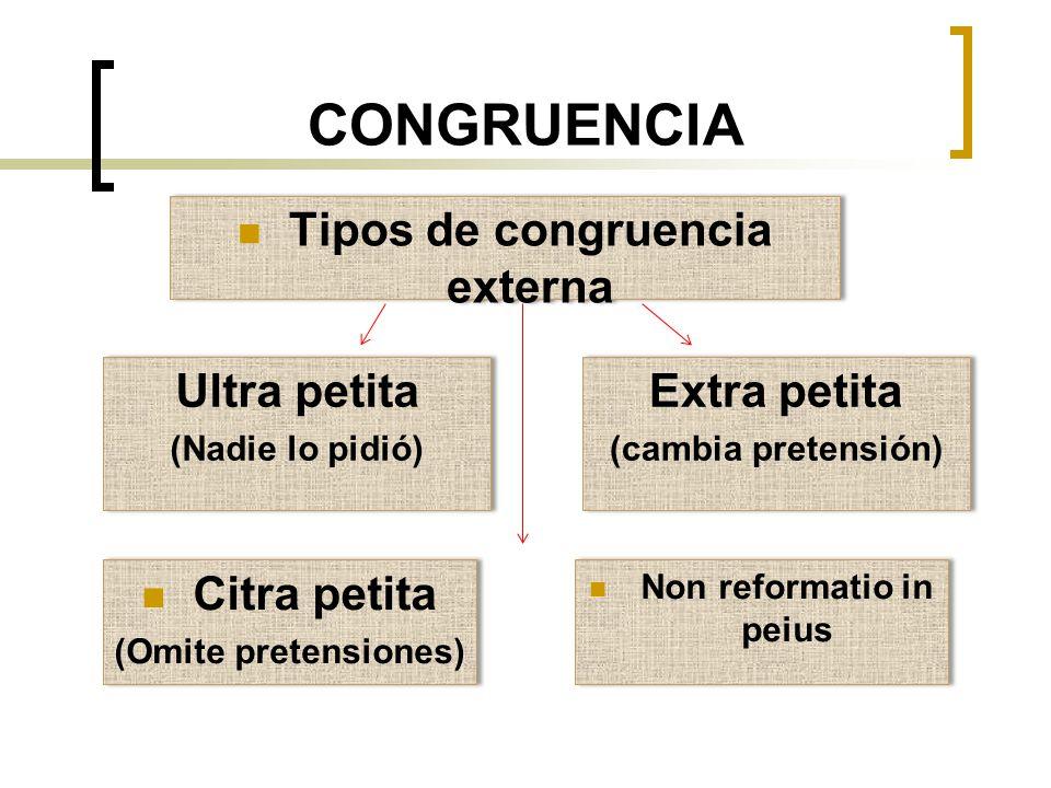 CONGRUENCIA Tipos de congruencia externa Ultra petita (Nadie lo pidió) Ultra petita (Nadie lo pidió) Extra petita (cambia pretensión) Extra petita (ca