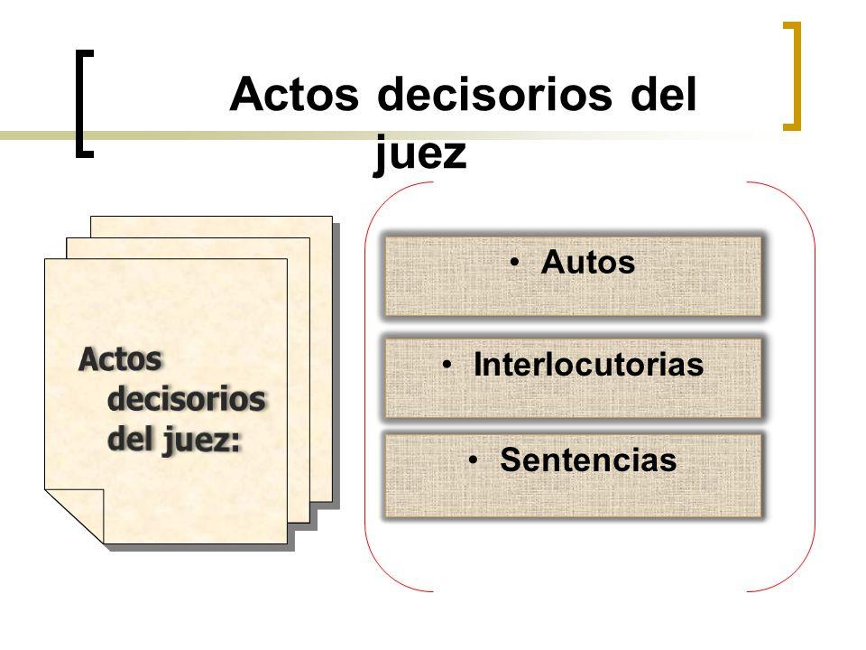 Actos decisorios del juez Autos Interlocutorias Sentencias