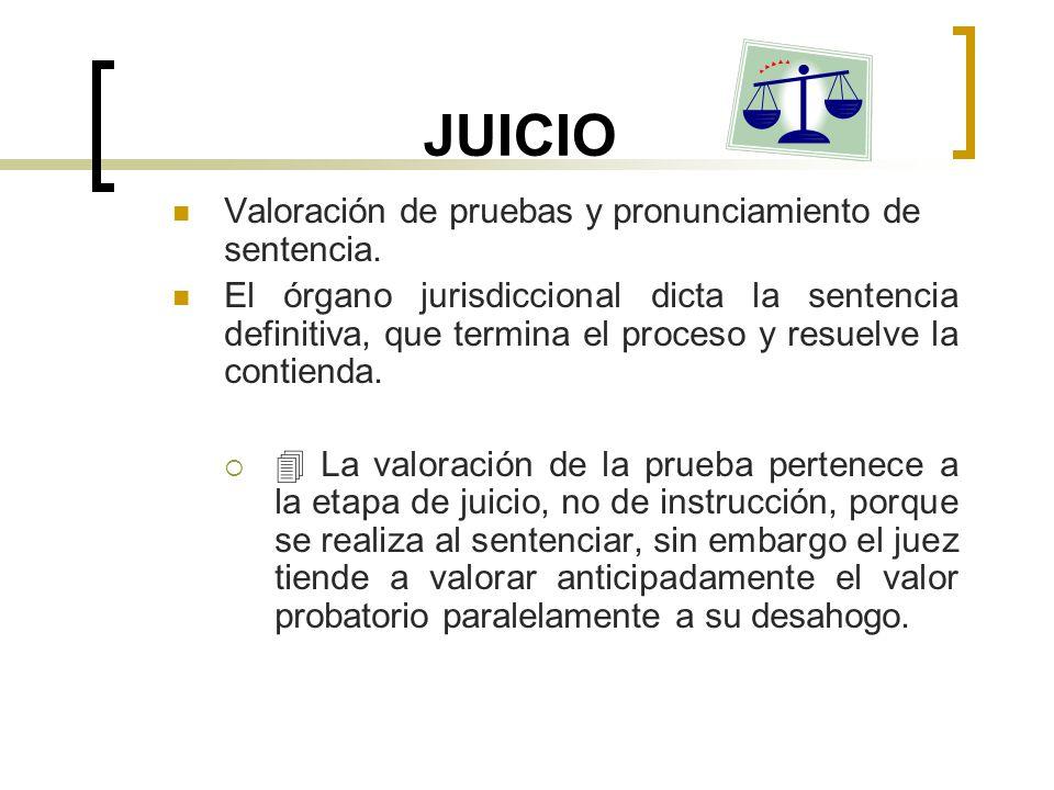 JUICIO Valoración de pruebas y pronunciamiento de sentencia. El órgano jurisdiccional dicta la sentencia definitiva, que termina el proceso y resuelve