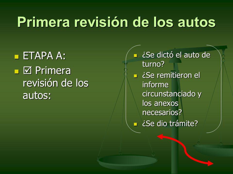 Primera revisión de los autos ETAPA A: ETAPA A: Primera revisión de los autos: Primera revisión de los autos: ¿Se dictó el auto de turno? ¿Se dictó el