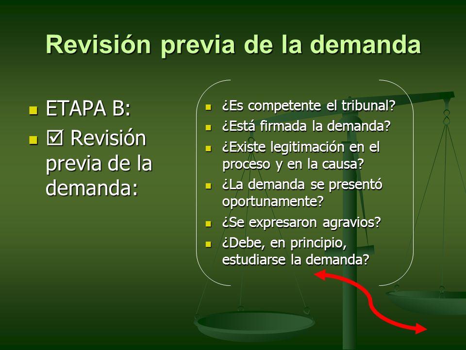 Revisión previa de la demanda ETAPA B: ETAPA B: Revisión previa de la demanda: Revisión previa de la demanda: ¿Es competente el tribunal? ¿Es competen