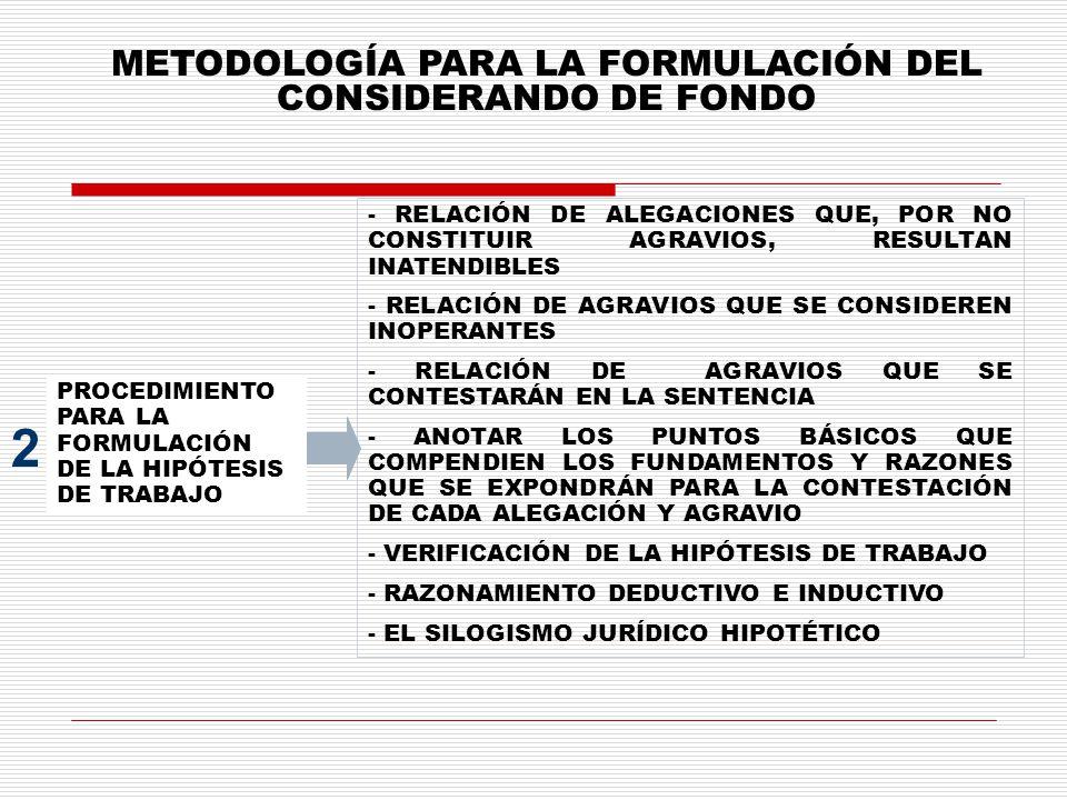METODOLOGÍA PARA LA FORMULACIÓN DEL CONSIDERANDO DE FONDO PROCEDIMIENTO PARA LA FORMULACIÓN DE LA HIPÓTESIS DE TRABAJO 2 - RELACIÓN DE ALEGACIONES QUE, POR NO CONSTITUIR AGRAVIOS, RESULTAN INATENDIBLES - RELACIÓN DE AGRAVIOS QUE SE CONSIDEREN INOPERANTES - RELACIÓN DE AGRAVIOS QUE SE CONTESTARÁN EN LA SENTENCIA - ANOTAR LOS PUNTOS BÁSICOS QUE COMPENDIEN LOS FUNDAMENTOS Y RAZONES QUE SE EXPONDRÁN PARA LA CONTESTACIÓN DE CADA ALEGACIÓN Y AGRAVIO - VERIFICACIÓN DE LA HIPÓTESIS DE TRABAJO - RAZONAMIENTO DEDUCTIVO E INDUCTIVO - EL SILOGISMO JURÍDICO HIPOTÉTICO