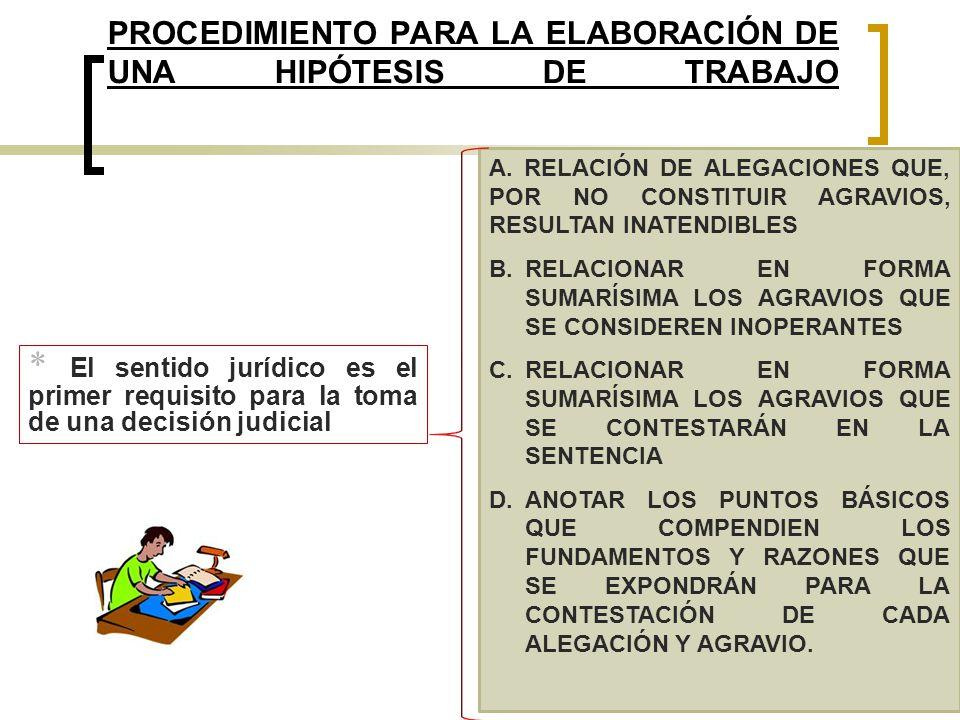 PROCEDIMIENTO PARA LA ELABORACIÓN DE UNA HIPÓTESIS DE TRABAJO A. RELACIÓN DE ALEGACIONES QUE, POR NO CONSTITUIR AGRAVIOS, RESULTAN INATENDIBLES B.RELA
