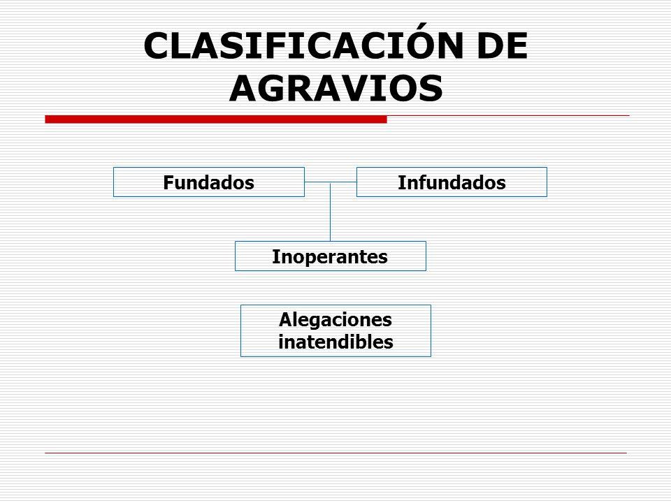 CLASIFICACIÓN DE AGRAVIOS FundadosInfundados Inoperantes Alegaciones inatendibles