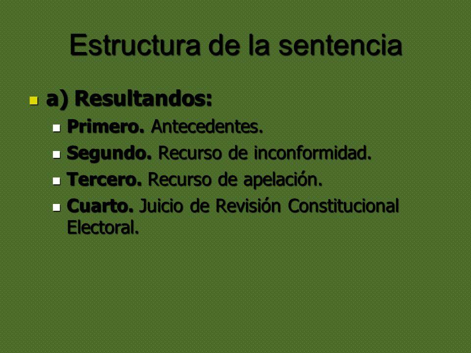 Estructura de la sentencia a) Resultandos: a) Resultandos: Primero. Antecedentes. Primero. Antecedentes. Segundo. Recurso de inconformidad. Segundo. R