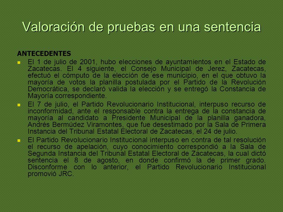 Valoración de pruebas en una sentencia ANTECEDENTES El 1 de julio de 2001, hubo elecciones de ayuntamientos en el Estado de Zacatecas. El 4 siguiente,