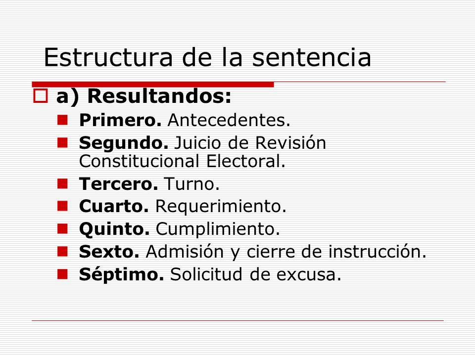 Estructura de la sentencia a) Resultandos: Primero. Antecedentes. Segundo. Juicio de Revisión Constitucional Electoral. Tercero. Turno. Cuarto. Requer