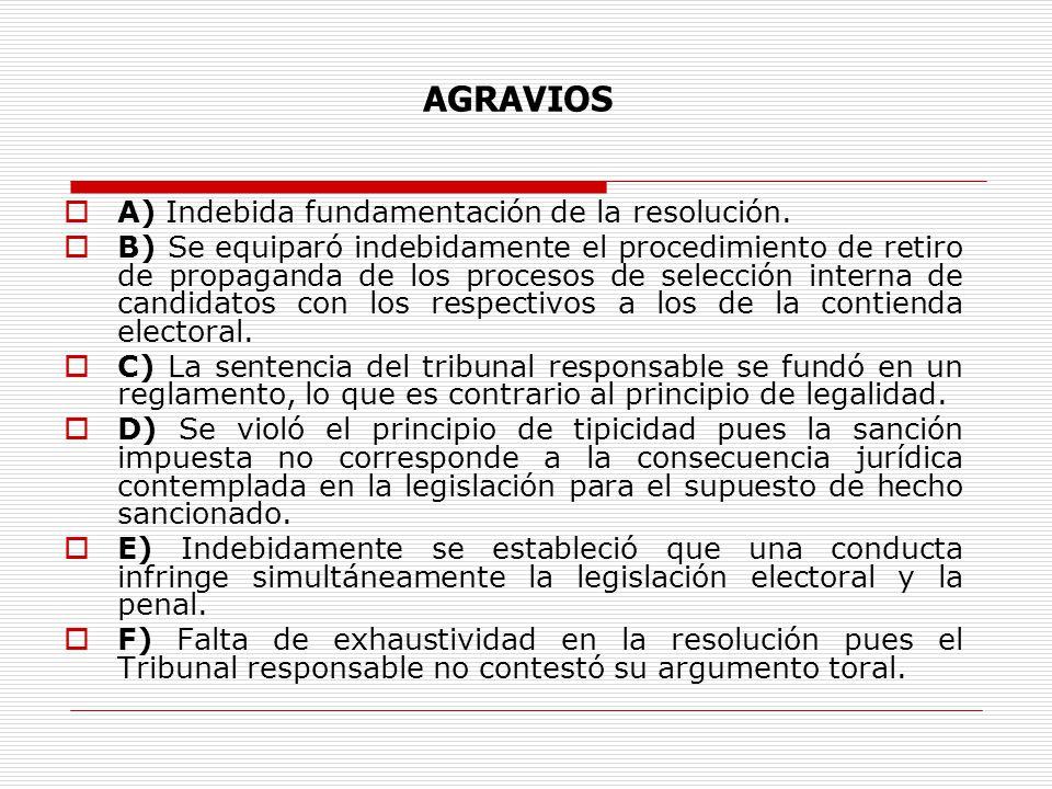 A) Indebida fundamentación de la resolución. B) Se equiparó indebidamente el procedimiento de retiro de propaganda de los procesos de selección intern