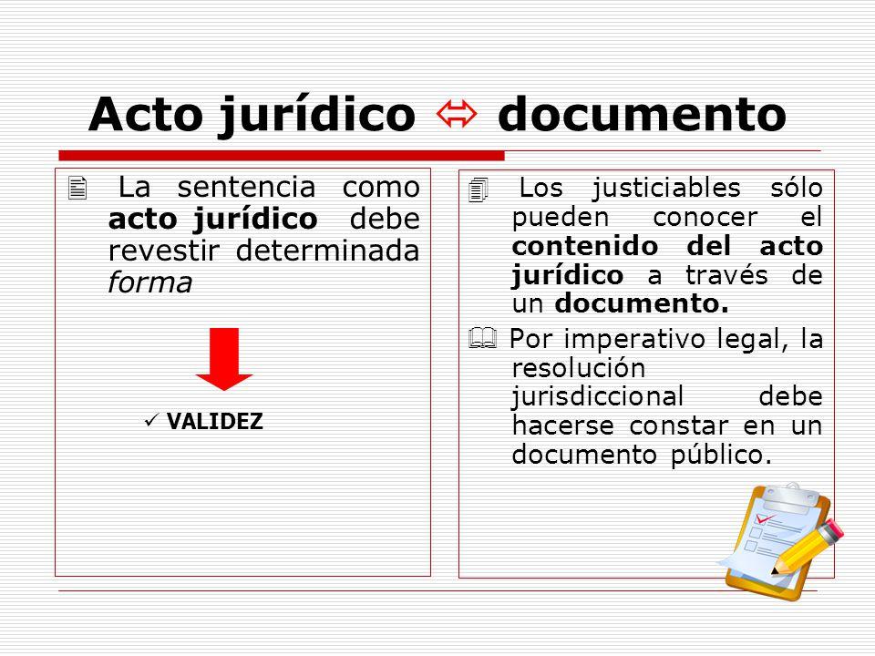 Acto jurídico documento La sentencia como acto jurídico debe revestir determinada forma VALIDEZ Los justiciables sólo pueden conocer el contenido del acto jurídico a través de un documento.