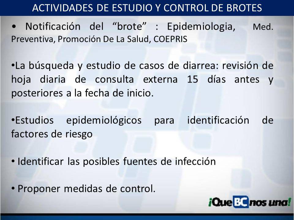 Notificación del brote : Epidemiologia, Med. Preventiva, Promoción De La Salud, COEPRIS La búsqueda y estudio de casos de diarrea: revisión de hoja di