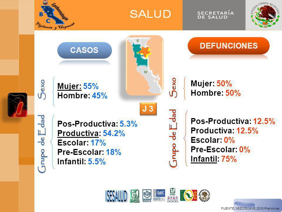 FUENTE: SEED/SUAVE 2010 Preliminar Mujer: 55% Hombre: 45% Pos-Productiva: 5.3% Productiva: 54.2% Escolar: 17% Pre-Escolar: 18% Infantil: 5.5% Sexo Grupo de Edad Mujer: 50% Hombre: 50% Pos-Productiva: 12.5% Productiva: 12.5% Escolar: 0% Pre-Escolar: 0% Infantil: 75% Sexo Grupo de Edad J 3
