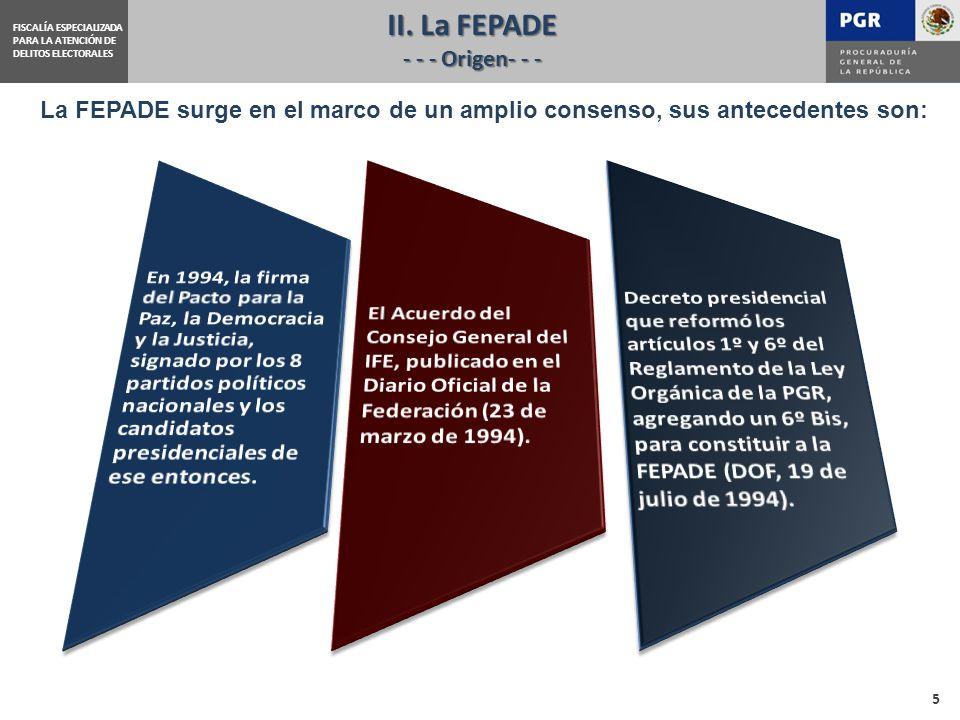 FISCALÍA ESPECIALIZADA PARA LA ATENCIÓN DE DELITOS ELECTORALES La FEPADE surge en el marco de un amplio consenso, sus antecedentes son: II.