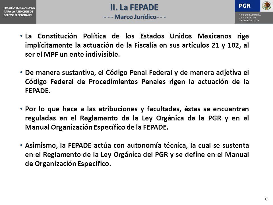 La Constitución Política de los Estados Unidos Mexicanos rige implícitamente la actuación de la Fiscalía en sus artículos 21 y 102, al ser el MPF un ente indivisible.