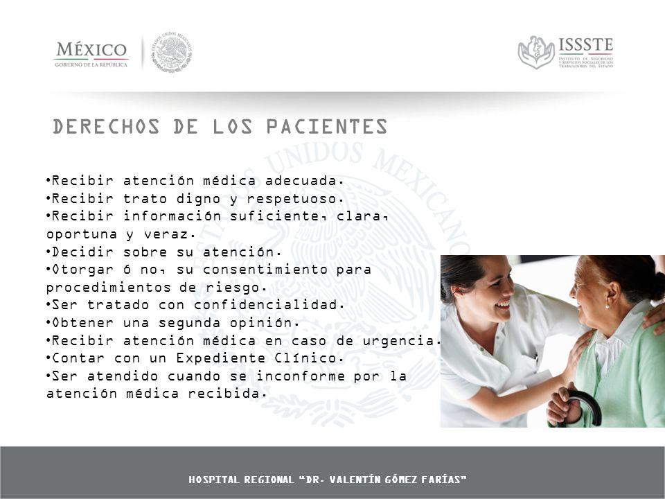 DERECHOS DE LOS PACIENTES Recibir atención médica adecuada.