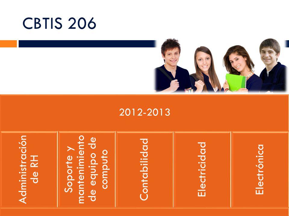 CBTIS 206 2012-2013 Administración de RH Soporte y mantenimiento de equipo de computo Contabilidad Electricidad Electrónica