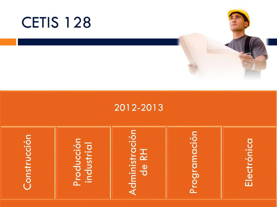 CETIS 128 2012-2013 Construcción Producción industrial Administración de RH Programación Electrónica