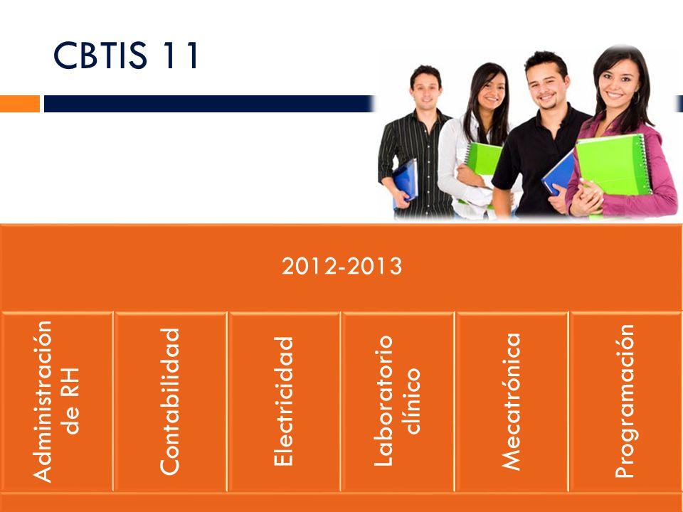 CBTIS 11 2012-2013 Administración de RH Contabilidad Electricidad Laboratorio clínico Mecatrónica Programación