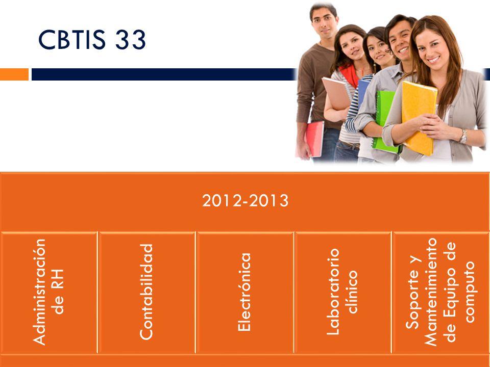 CBTIS 33 2012-2013 Administración de RH Contabilidad Electrónica Laboratorio clínico Soporte y Mantenimiento de Equipo de computo