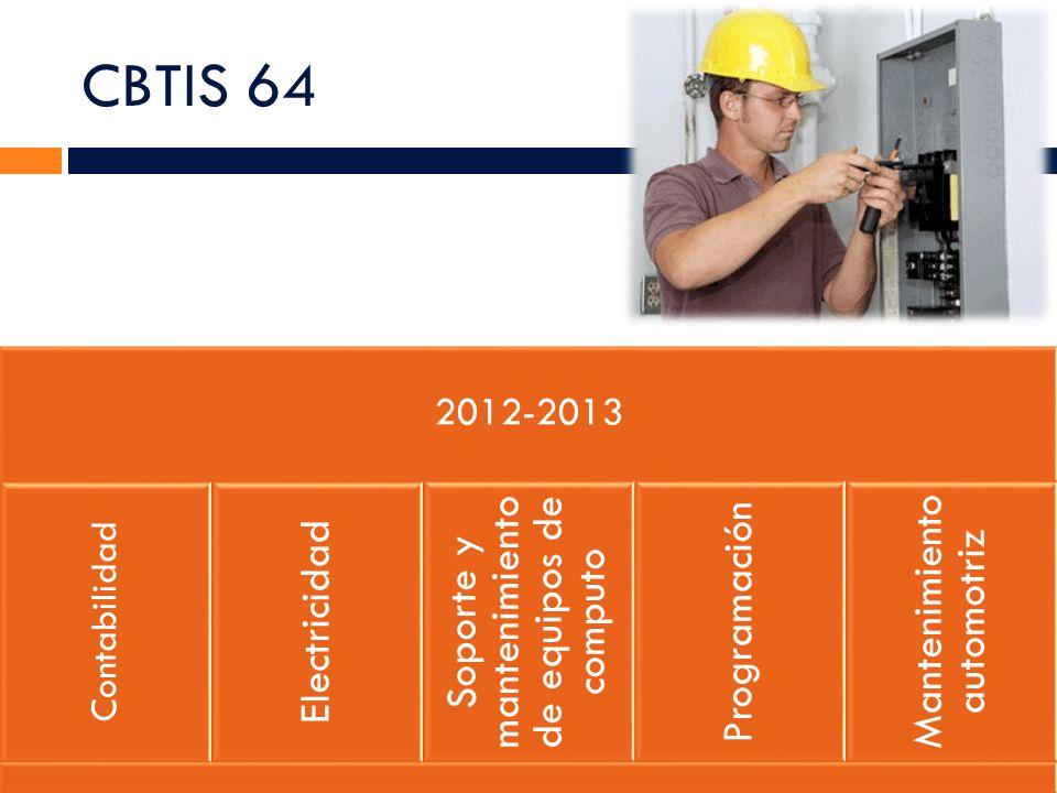 CBTIS 81 2012-2013 Contabilidad Administración de RH Soporte y mantenimiento de equipos de computo Construcción