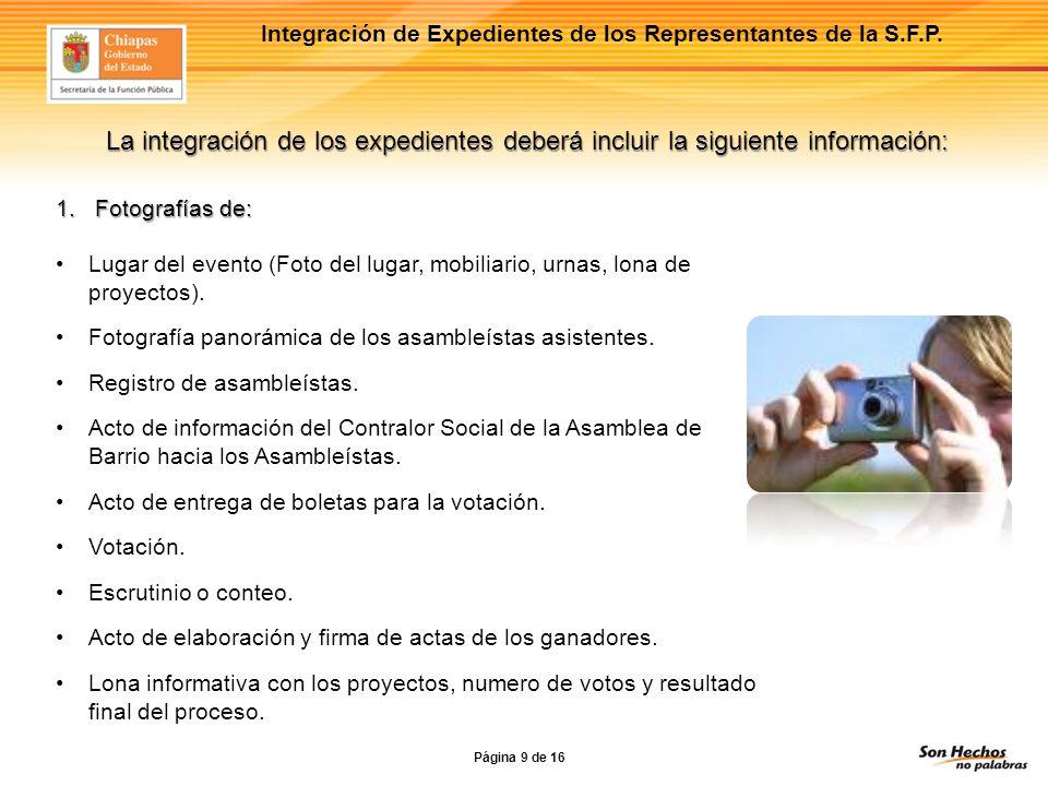 Integración de Expedientes de los Representantes de la S.F.P.