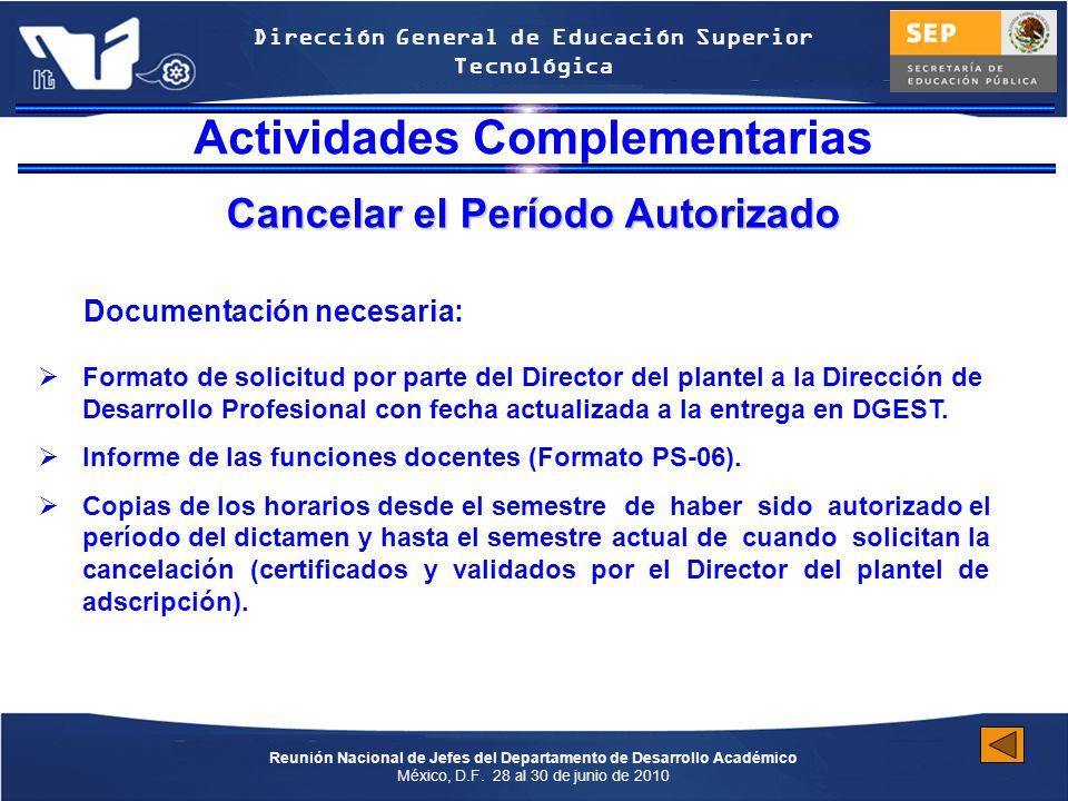 Reunión Nacional de Jefes del Departamento de Desarrollo Académico México, D.F.