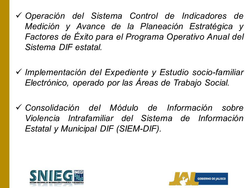 Operación del Sistema Control de Indicadores de Medición y Avance de la Planeación Estratégica y Factores de Éxito para el Programa Operativo Anual de