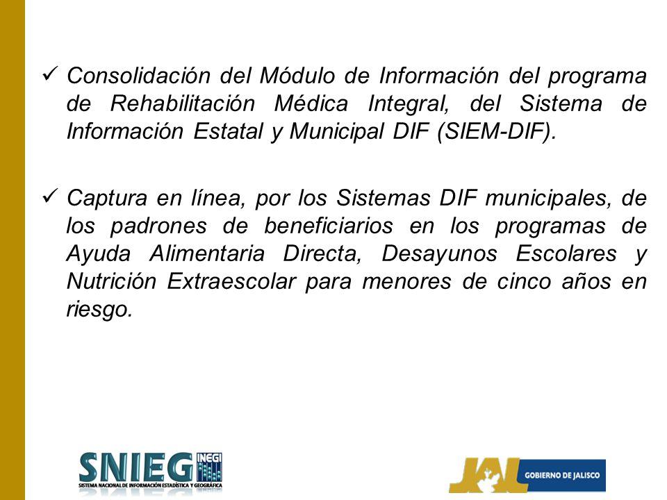 Consolidación del Módulo de Información del programa de Rehabilitación Médica Integral, del Sistema de Información Estatal y Municipal DIF (SIEM-DIF).