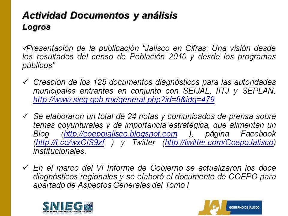 Actividad Documentos y análisis Logros Presentación de la publicación Jalisco en Cifras: Una visión desde los resultados del censo de Población 2010 y