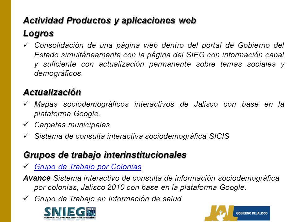 Actividad Productos y aplicaciones web Logros Consolidación de una página web dentro del portal de Gobierno del Estado simultáneamente con la página d