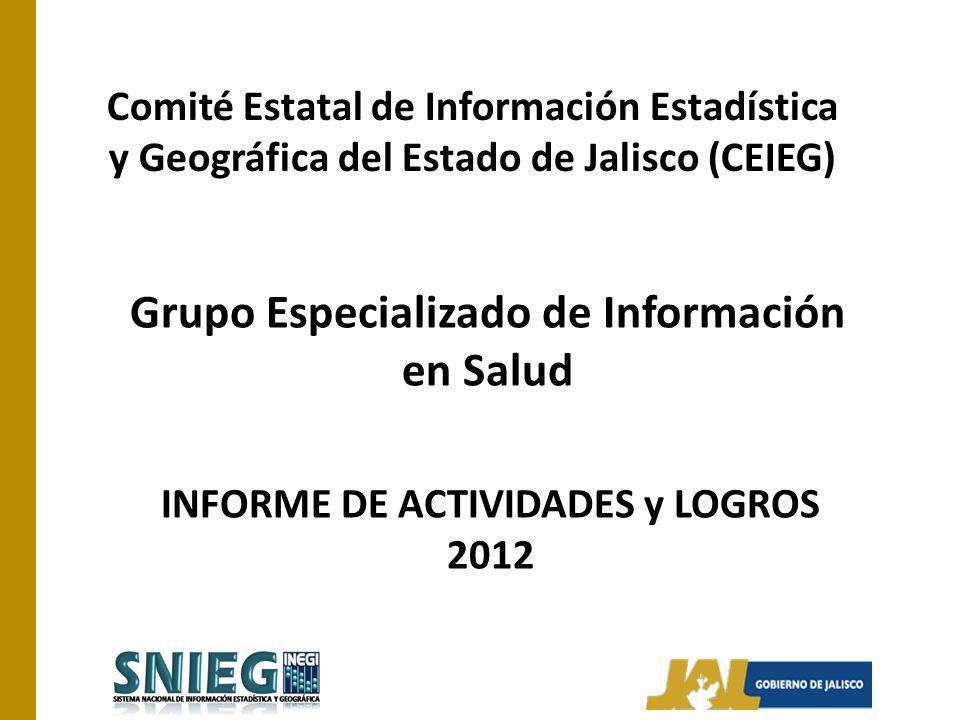 Comité Estatal de Información Estadística y Geográfica del Estado de Jalisco (CEIEG) Grupo Especializado de Información en Salud INFORME DE ACTIVIDADE