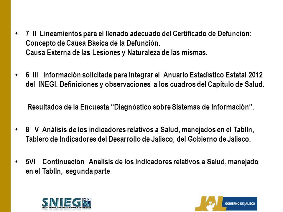 7 II Lineamientos para el llenado adecuado del Certificado de Defunción: Concepto de Causa Básica de la Defunción. Causa Externa de las Lesiones y Nat