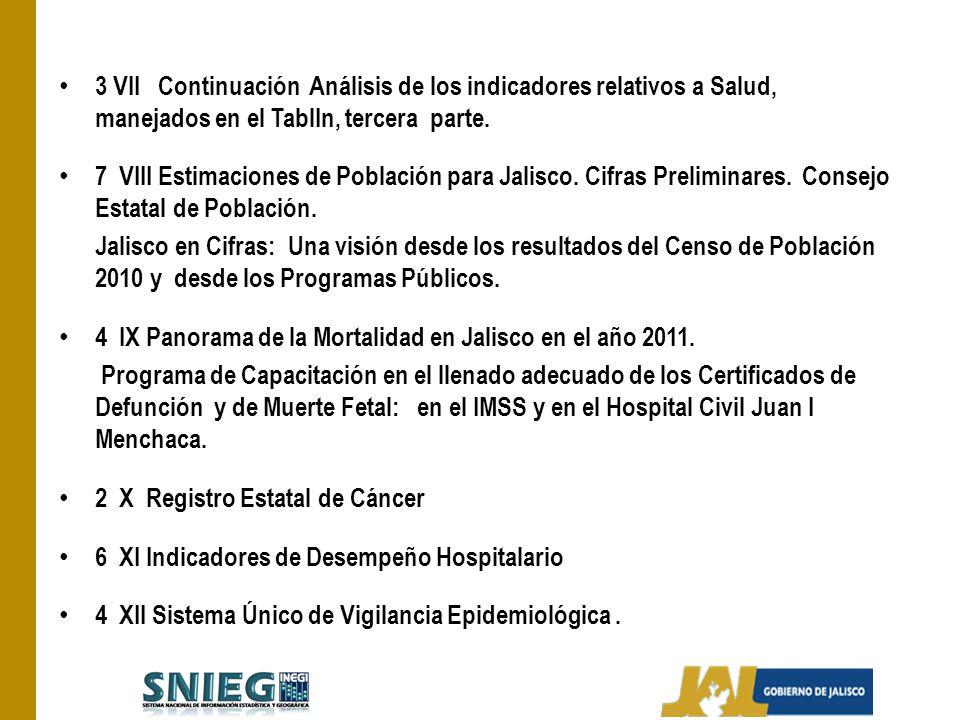 3 VII Continuación Análisis de los indicadores relativos a Salud, manejados en el TablIn, tercera parte. 7 VIII Estimaciones de Población para Jalisco