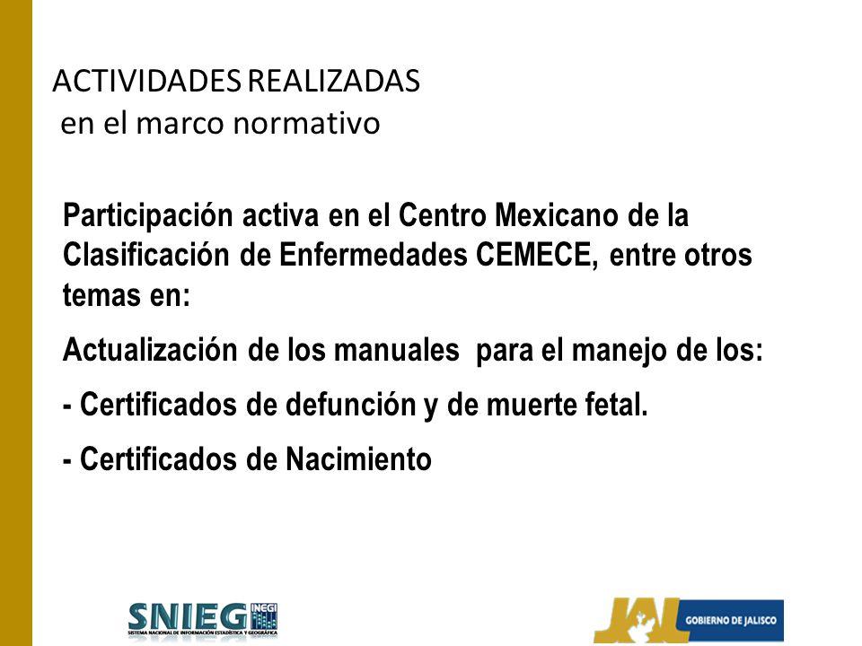 ACTIVIDADES REALIZADAS en el marco normativo Participación activa en el Centro Mexicano de la Clasificación de Enfermedades CEMECE, entre otros temas