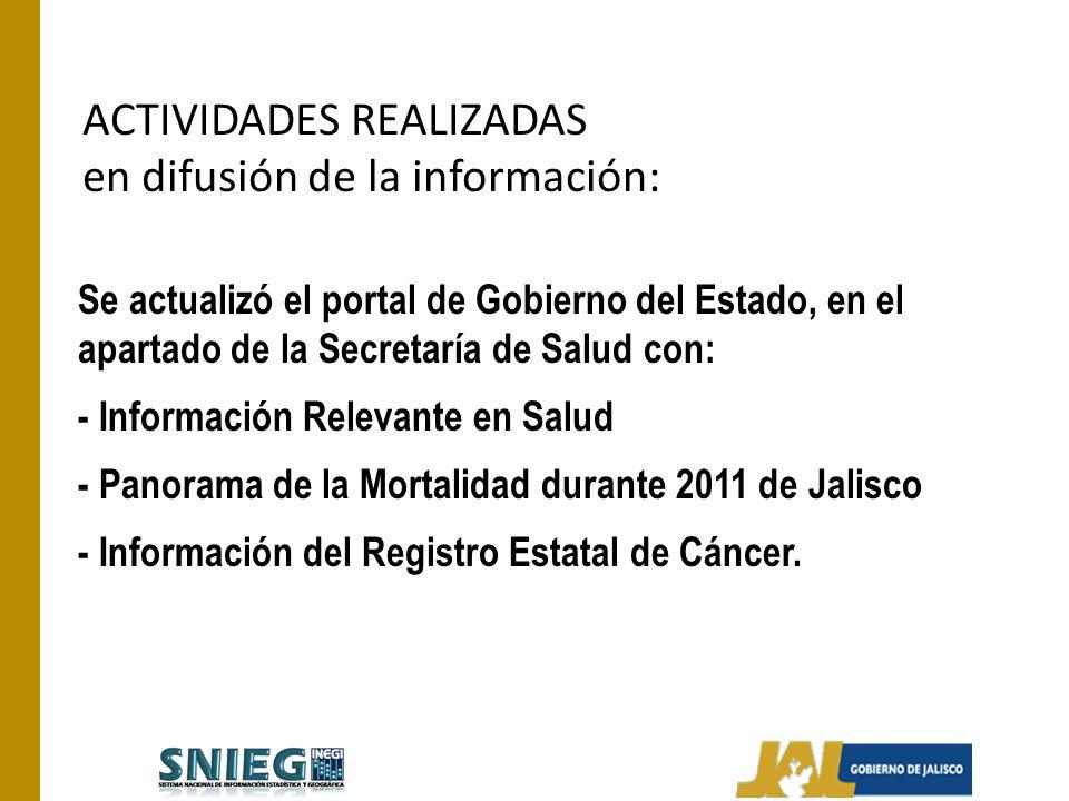ACTIVIDADES REALIZADAS en difusión de la información: Se actualizó el portal de Gobierno del Estado, en el apartado de la Secretaría de Salud con: - I