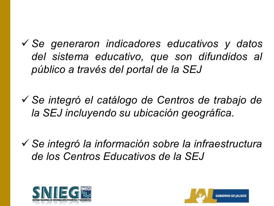 Se generaron indicadores educativos y datos del sistema educativo, que son difundidos al público a través del portal de la SEJ Se integró el catálogo