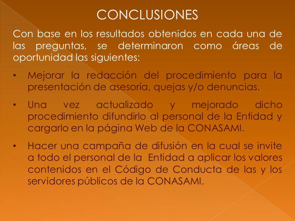 CONCLUSIONES Con base en los resultados obtenidos en cada una de las preguntas, se determinaron como áreas de oportunidad las siguientes: Mejorar la redacción del procedimiento para la presentación de asesoría, quejas y/o denuncias.