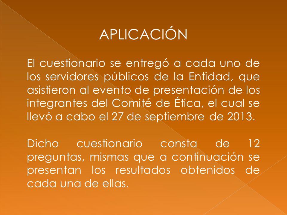 APLICACIÓN El cuestionario se entregó a cada uno de los servidores públicos de la Entidad, que asistieron al evento de presentación de los integrantes del Comité de Ética, el cual se llevó a cabo el 27 de septiembre de 2013.